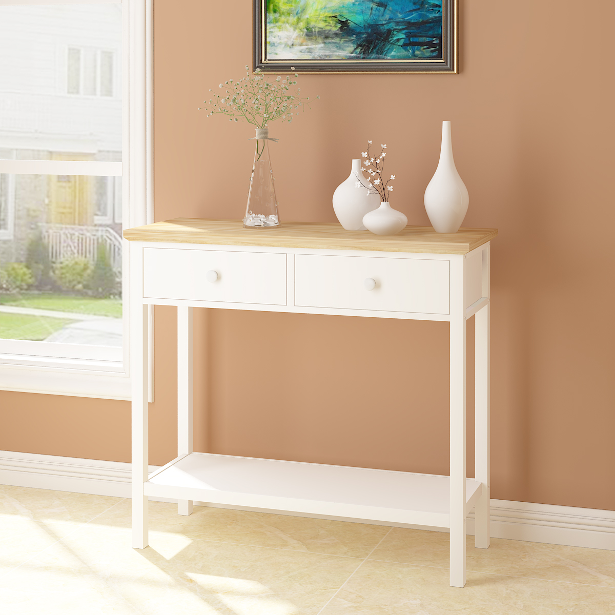 hallway table with drawers 2. Console Table Stunning Kitchen Hall 2 Drawers And Shelf White UK Shipping Hallway With