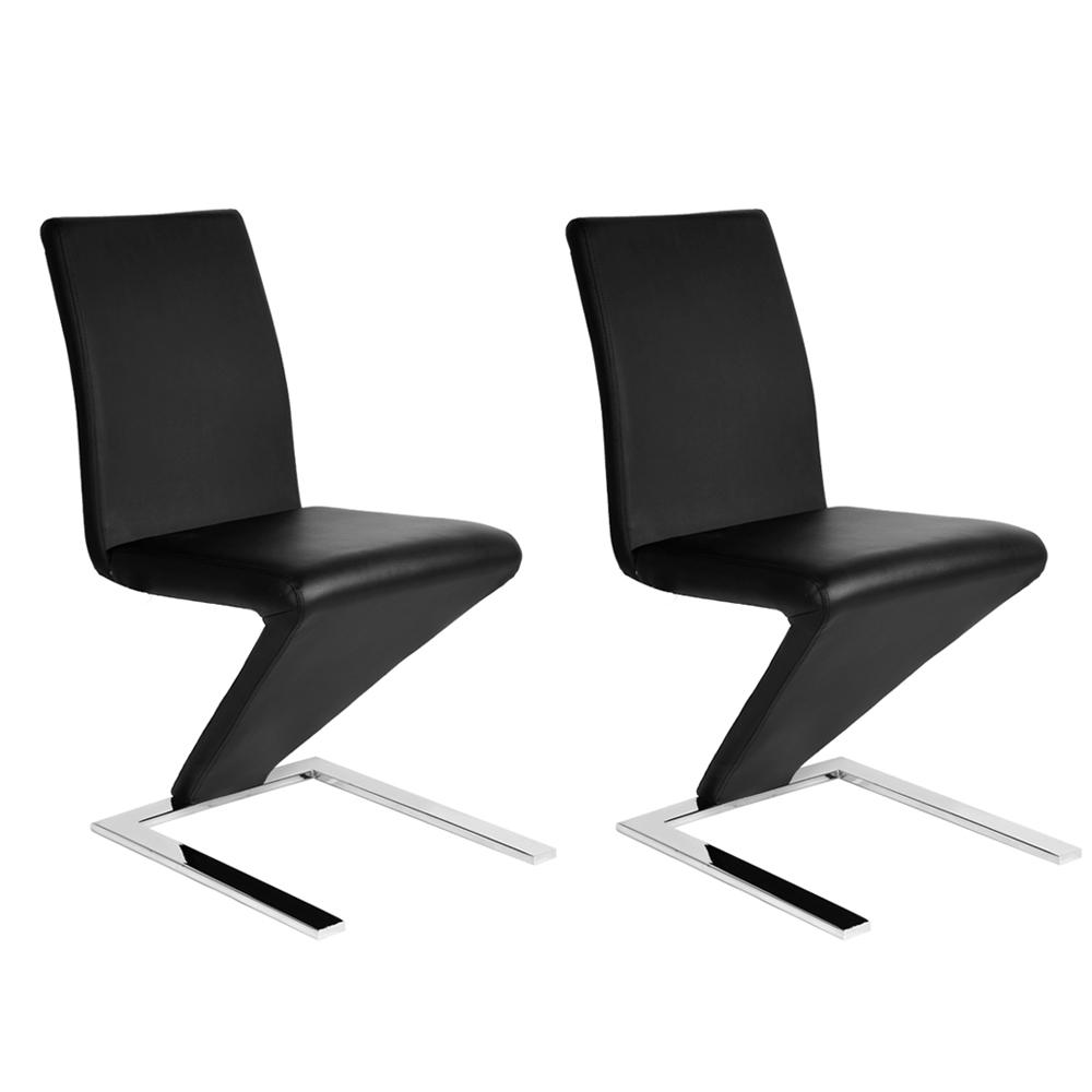 Great 2X Modern Designer Leather Chrome Z Shape Dining