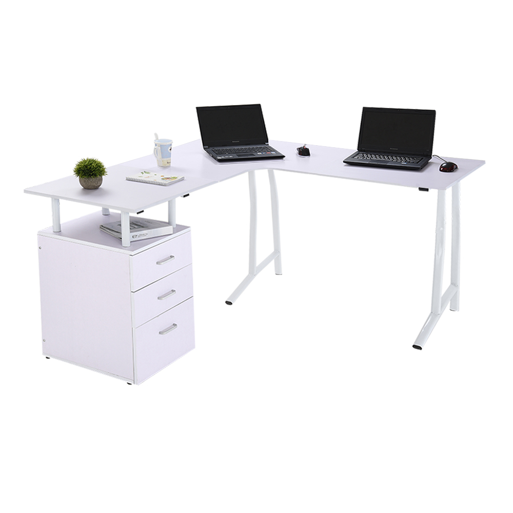 L Shaped Computer Pc Desk Corner 3 Drawers Home Office Table White Uk