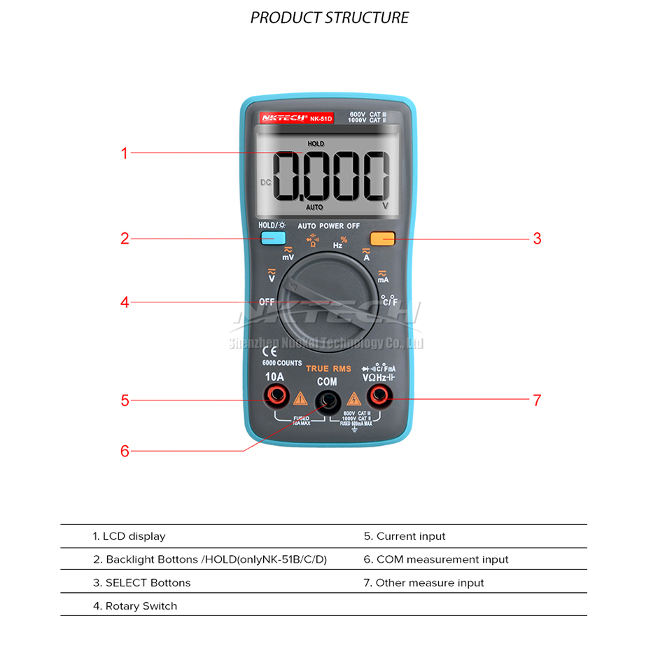 Details about NKTECH NK-51D True RMS Digital Multimeter Temperature  Resistance Cap Frequency