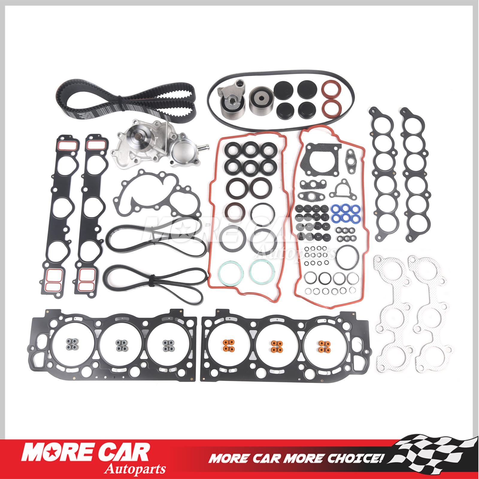 Head Gasket Set Timing Belt Kit Water Pump w// Head Bolts For 95-04 Toyota 5VZFE
