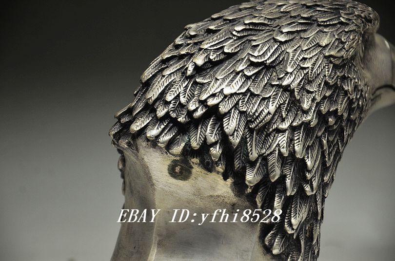 Collectible China Wonderful Handwork Miao Silver Carving Hunan Ingot Statue