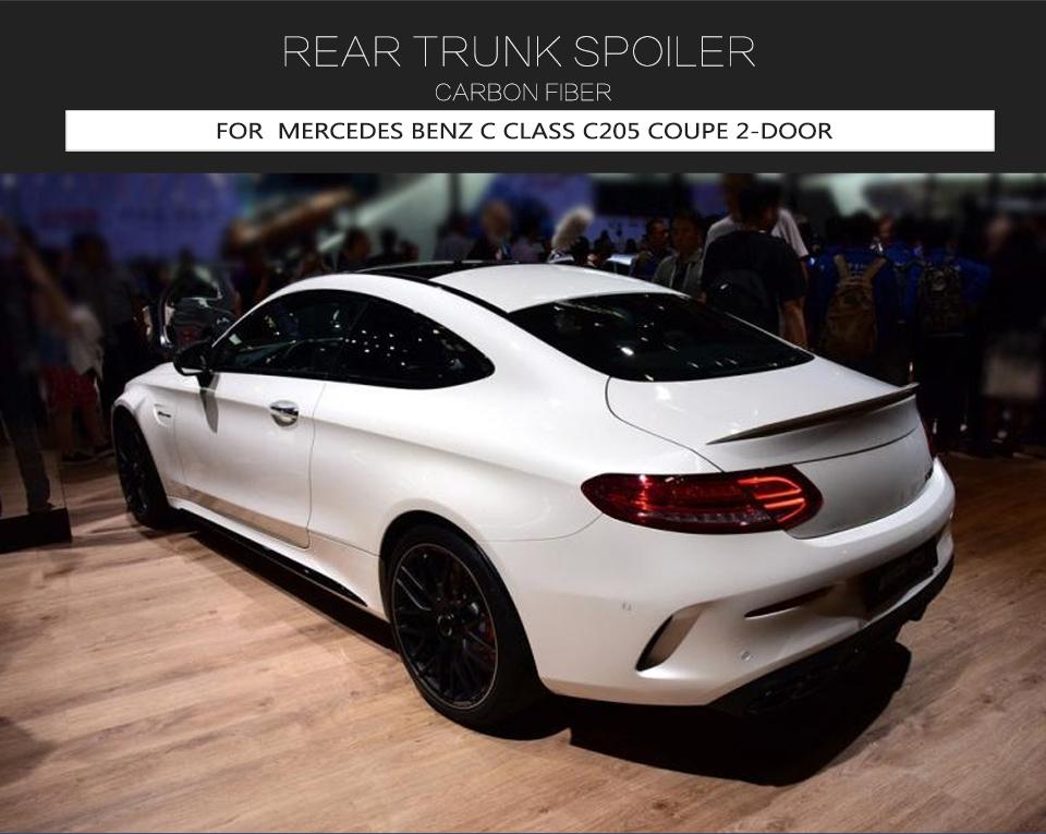 Rear Trunk Spoiler Wing For Benz C205 C200 C300 C63 Coupe 15-19 Carbon Fiber