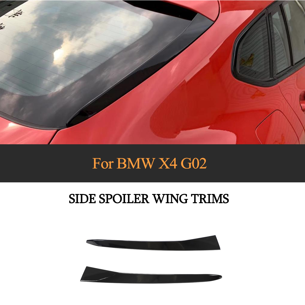 Glossy Black Rear Window Spoiler Side Wing Cover Trim For BMW X4 G02 2019-2020