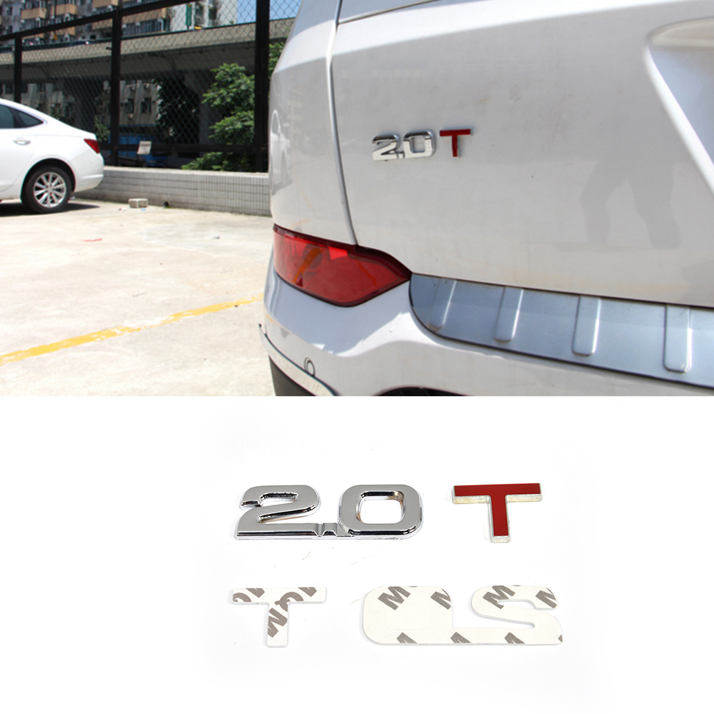 2.0T 2.0 T Turbo Engine Metal Rear Trunk Emblem Badge Decal Sticker For Audi BMW