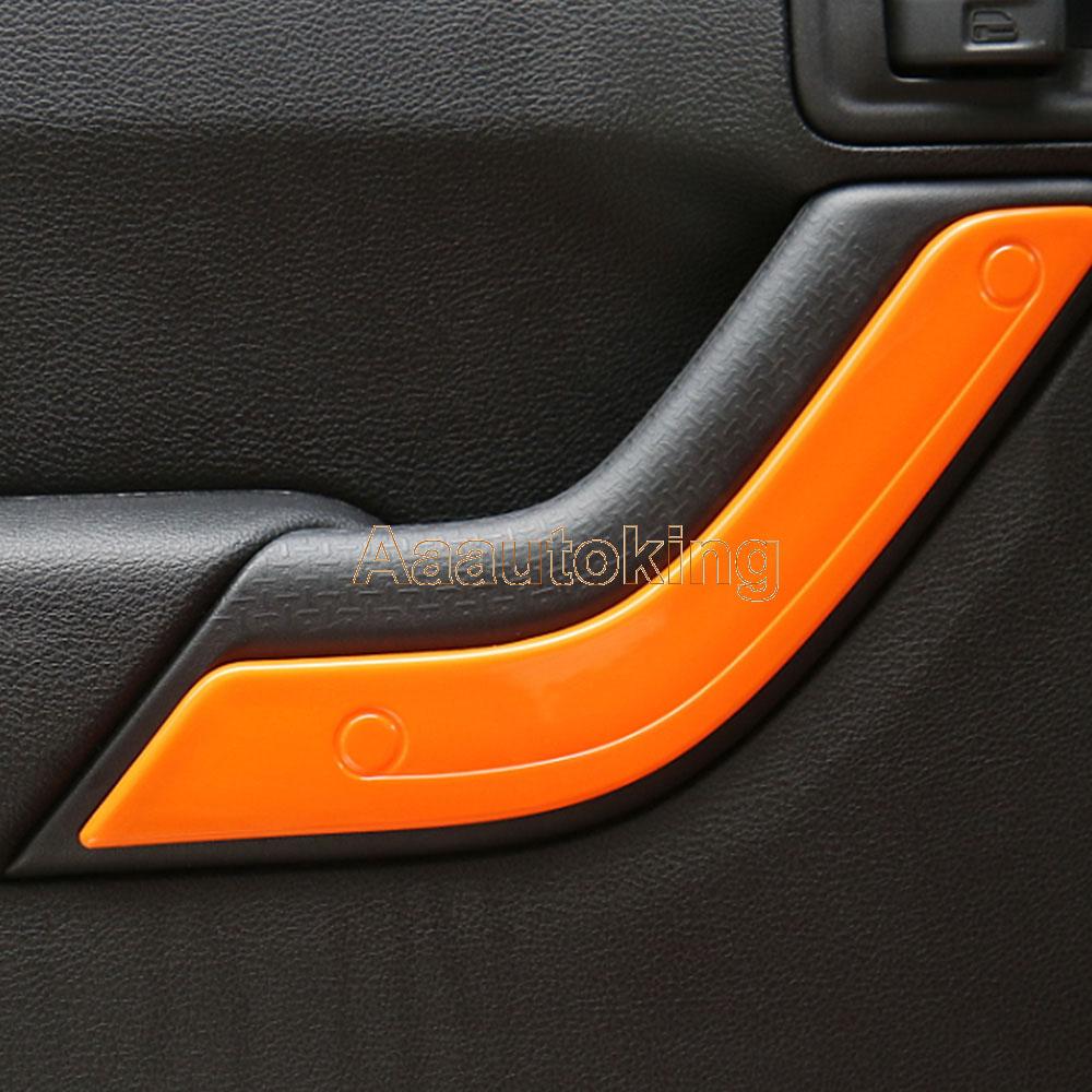 4pcs Abs Car Interior Door Handle Cover Fit For Jeep Wrangler Jk 4d