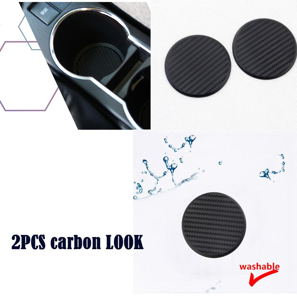 2pcs Car Water Cup Slot Non-Slip Carbon Fiber Look Mat Accessories Washable New