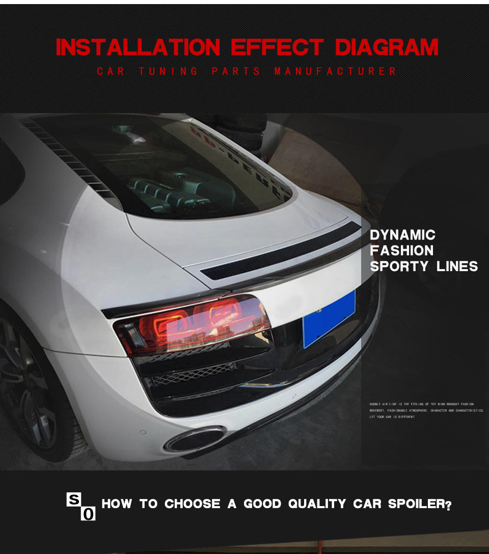 3pcs Carbon Fiber Rear Boot Wing Lip Trunk Spoiler Fit For Audi R8 A8 V1 0 Engine Diagram V8 V10 08 15