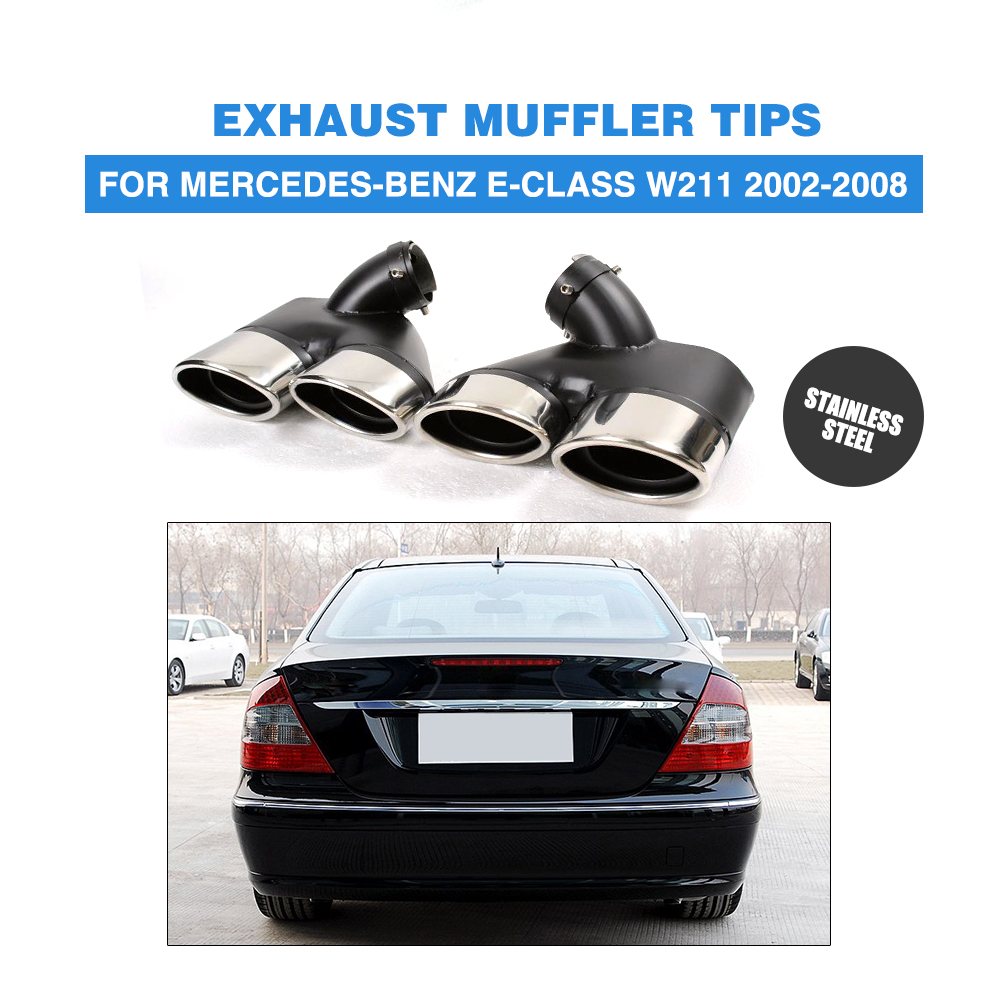 2x Exhaust Muffler Pipe Dual Tips W211 For Mercedes-Benz E320 E350 E55 AMG 02-08