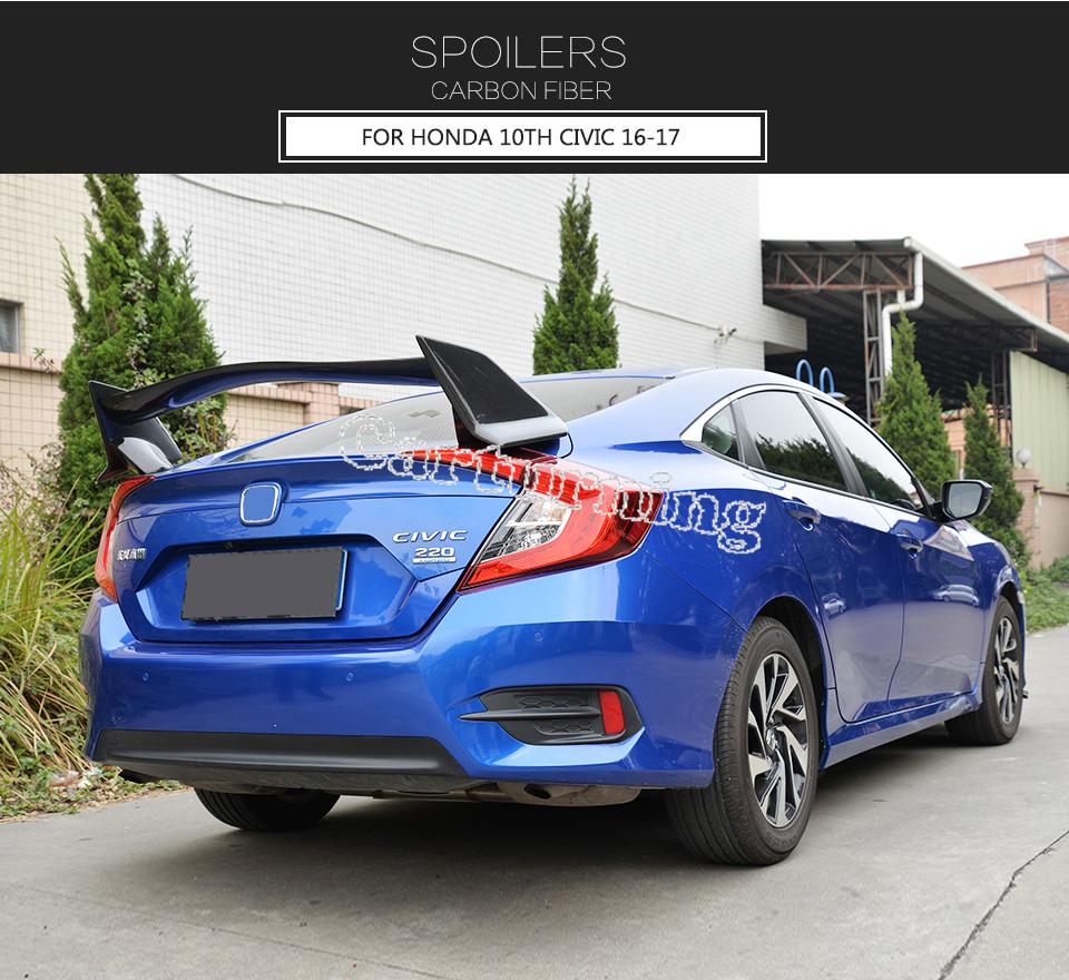 car rear trunk spoiler carbon fiber wing fit for honda. Black Bedroom Furniture Sets. Home Design Ideas