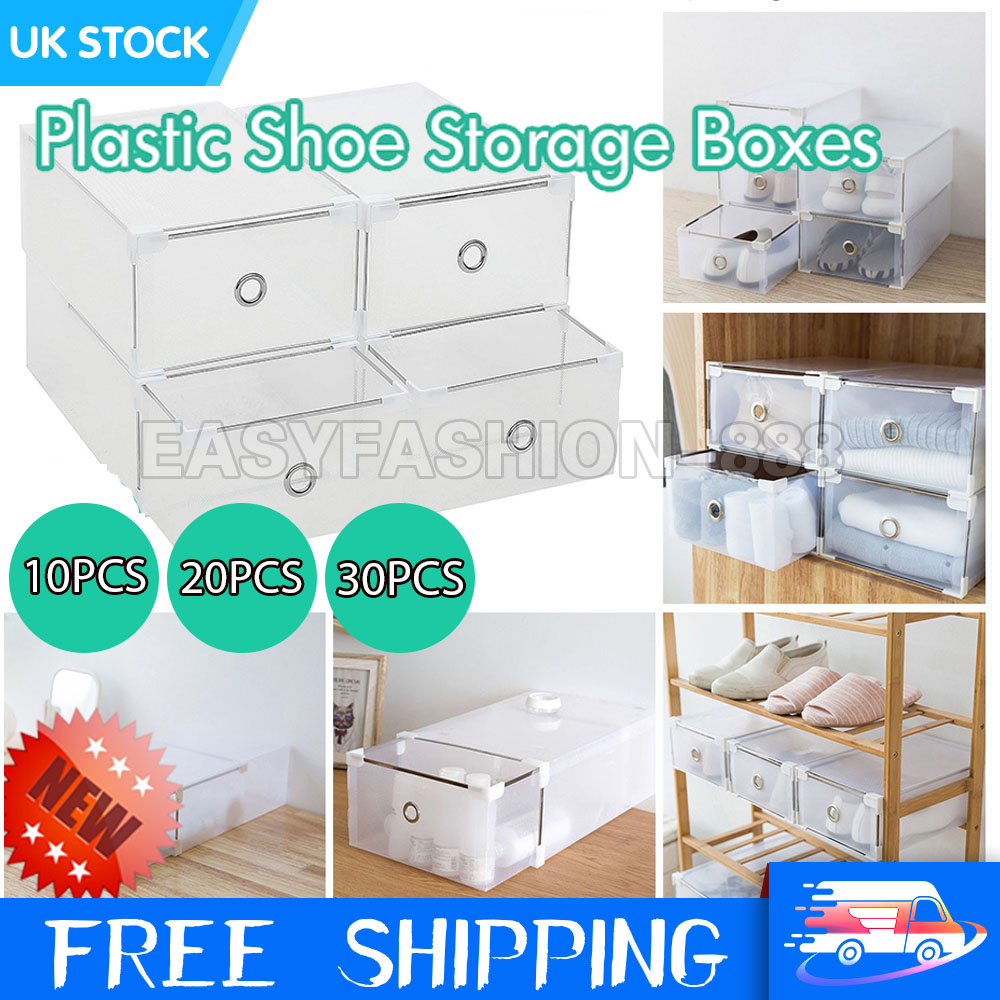 UK 20 Foldable Plastic Shoe Boxes Drawer Stackable Storage ...