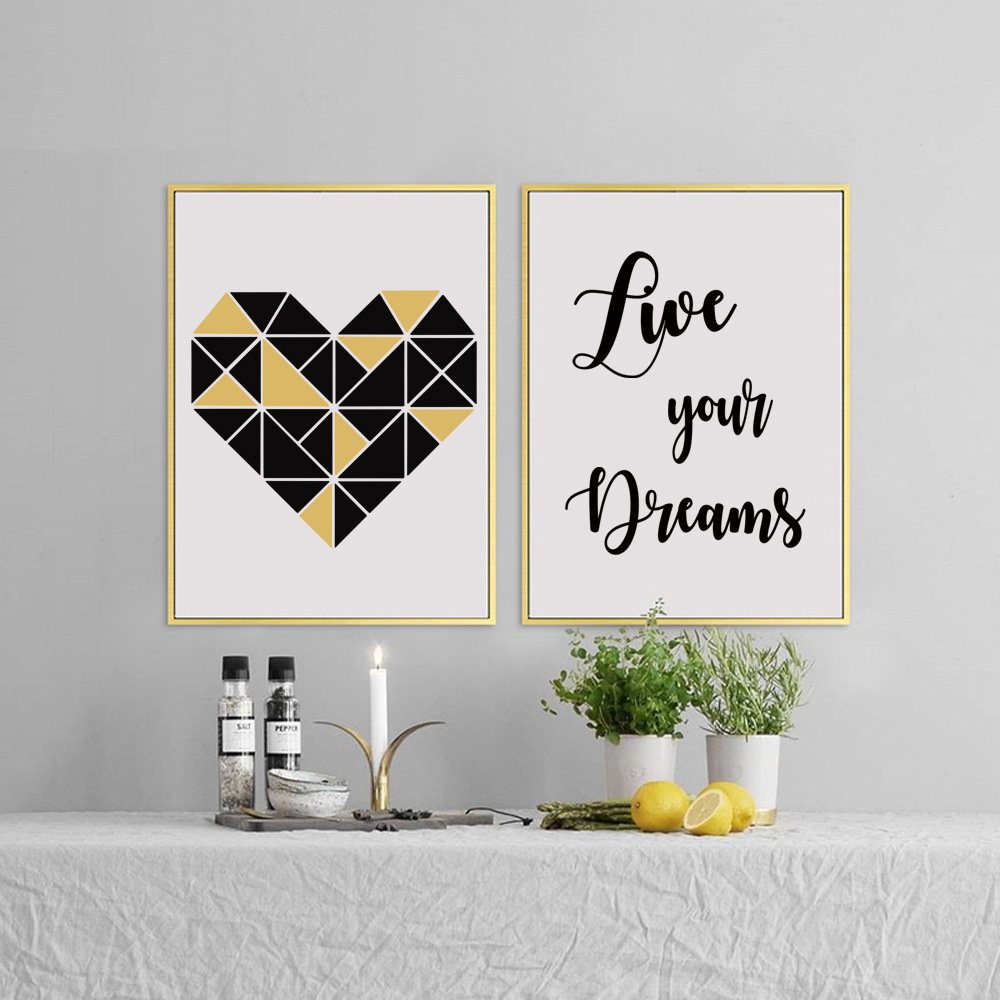 Nordic Simple Ceometry Heart Quote Live Your Dream Canvas Wall