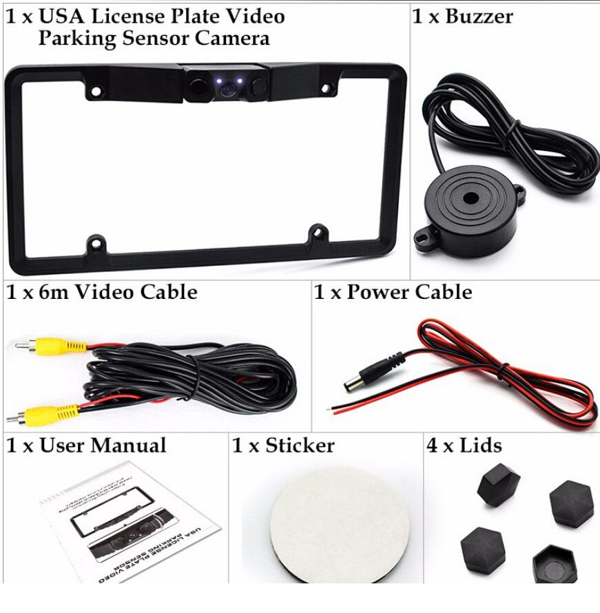 3IN1 Car SUV Parking Sensor Radar Rearview Backup Camera License ...
