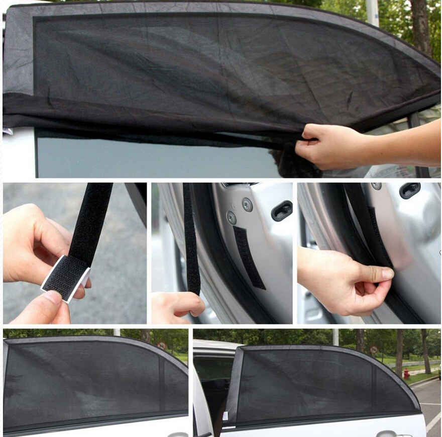 One Pair Black Car Off-Road Rear Window Sun Visor Shade Sunshine Shield Cover L