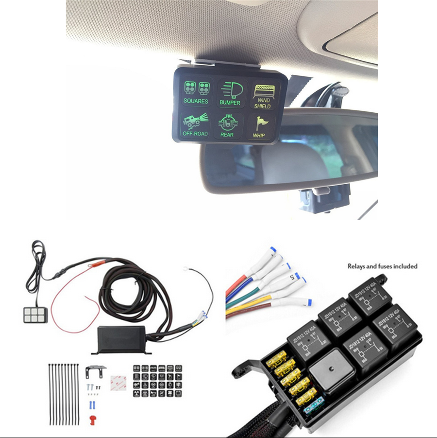 Universal 6 Gang 6led Autos Switch Panel Relay Control Box