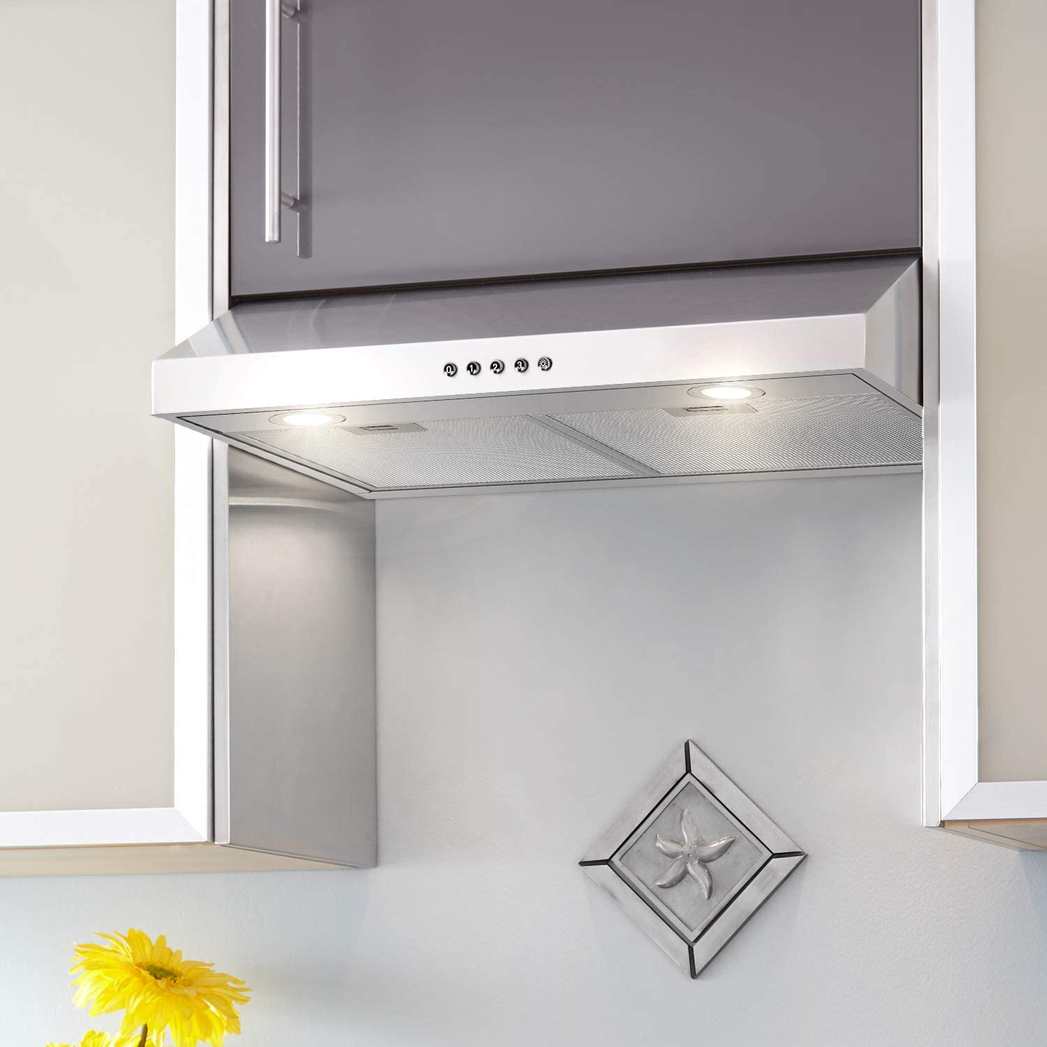 Push Button Hykolity 30 inch Under Cabinet Range Hood with Ducted Reusable Aluminum Filters Stainless Steel Kitchen Stove Vent Hood with 3 Speed Exhaust Fan 350 CFM