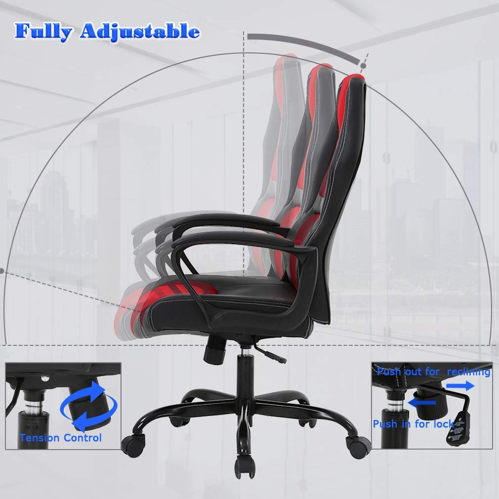 Fine Details About Ergonomic Office Chair Pu Leather Executive Back Computer Desk Gaming Chair Red Gmtry Best Dining Table And Chair Ideas Images Gmtryco