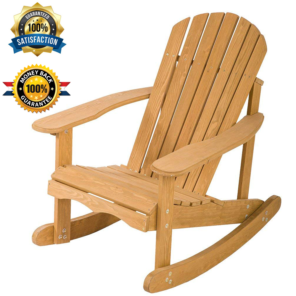 Remarkable Details About Large Size Outdoor Garden Rocking Rest Adirondack Wood Chair Patio Furniture Squirreltailoven Fun Painted Chair Ideas Images Squirreltailovenorg