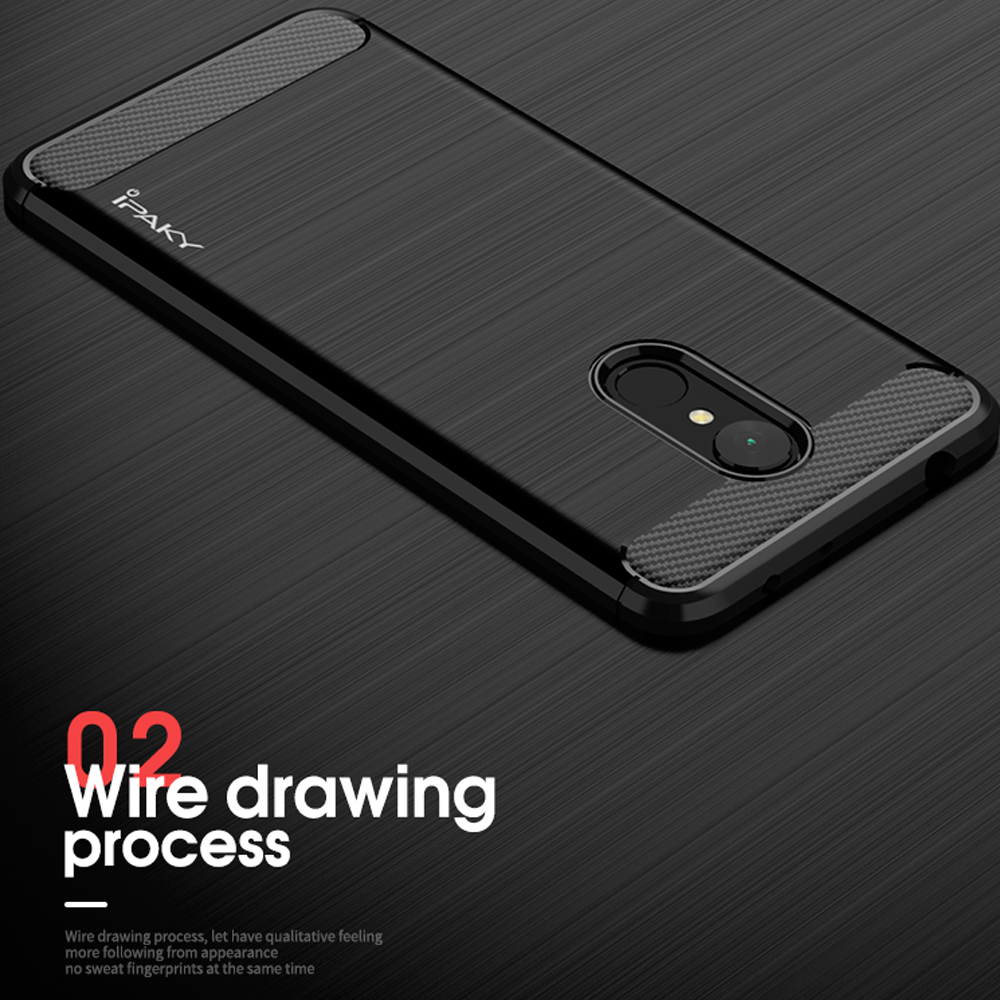 IPAKY Shockproof Brushed Soft TPU Protector Case Cover For Xiaomi Redmi 5 Plus