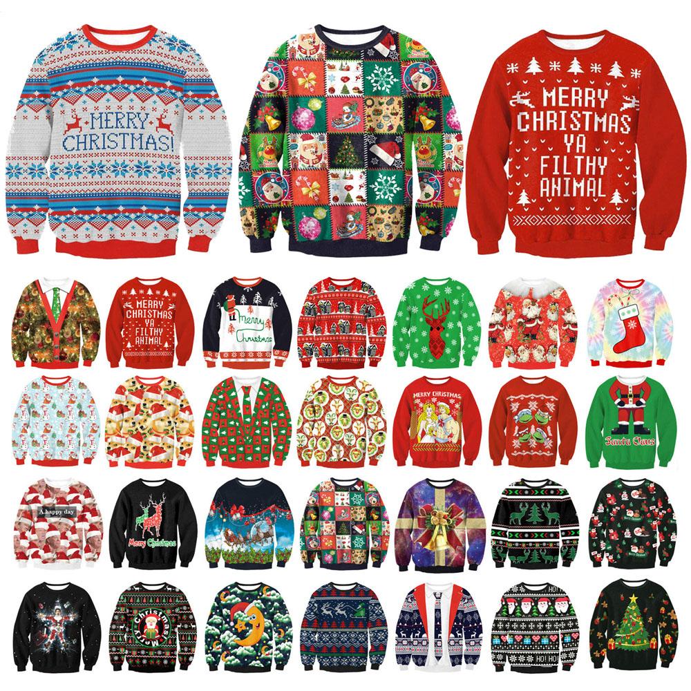 b1df73804 Men Women Ugly Christmas Pullover Sweatshirts 3D Digital Printed Graphic Long  Sleeve Shirts