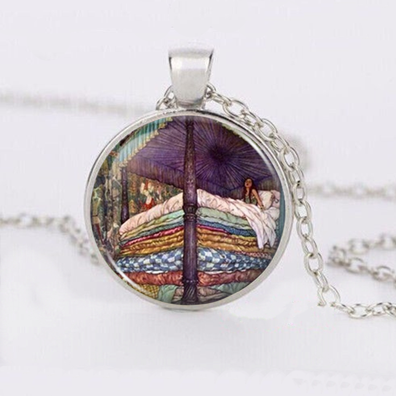 New arrival princess cabochon tibetan silver glass chain pendant image is loading new arrival princess cabochon tibetan silver glass chain aloadofball Images