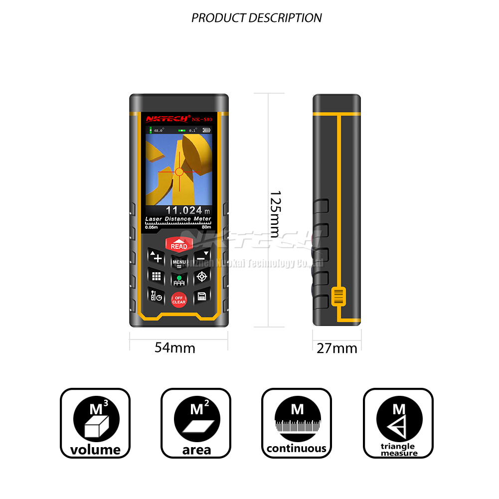 Nktech Digital Laser Distance Meter Camera Angle Range Tft
