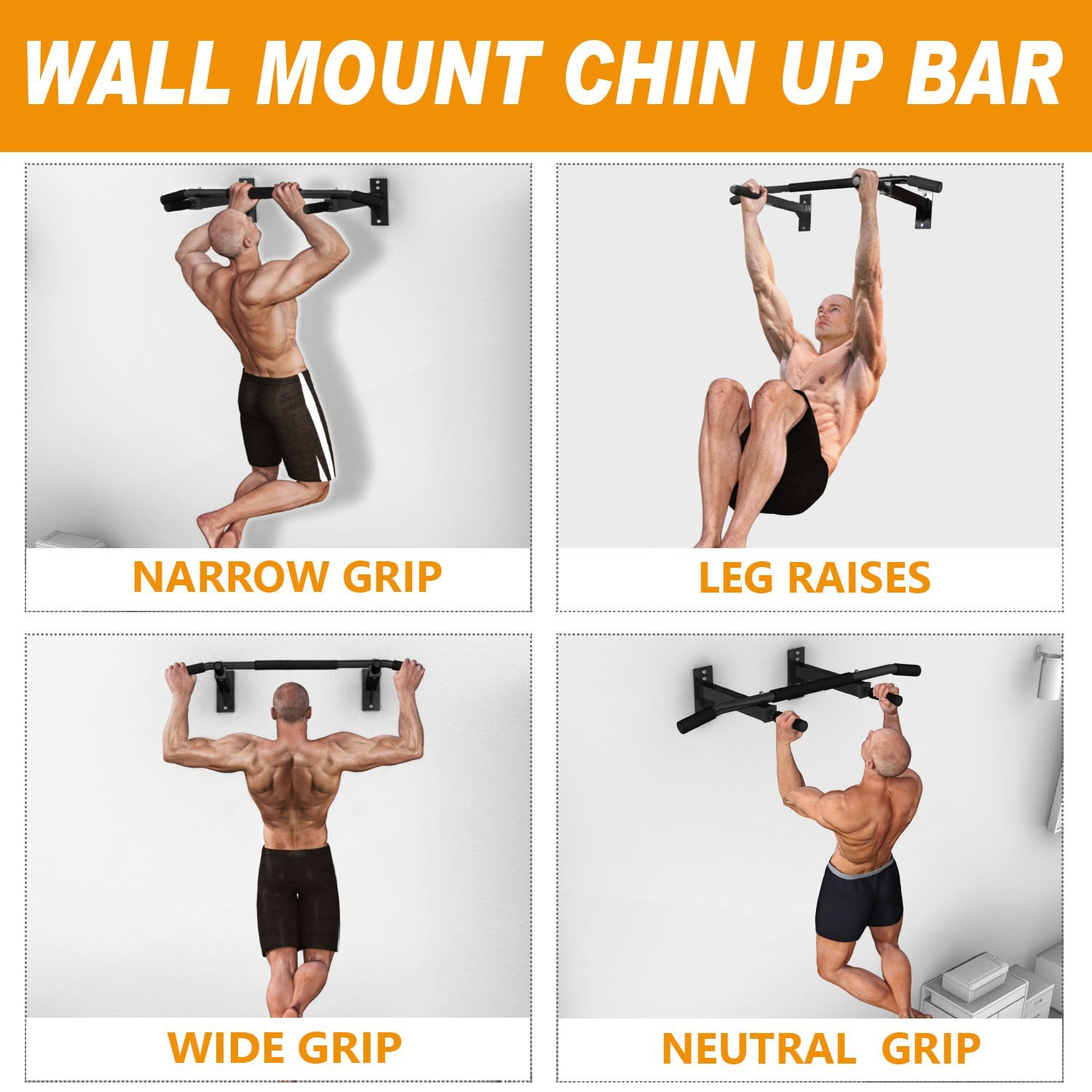 Chin Pull Up Bar Wall Mounted Gym Suspension Exercise Door