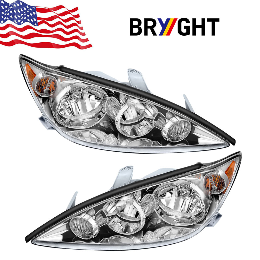 Headlights Headlamps Pair Left right set for 05-06 Camry LE /& XLE w// Chrome