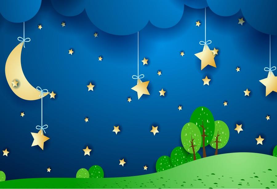 cartoon moon stars vinyl 7x5ft background photo backdrop studio