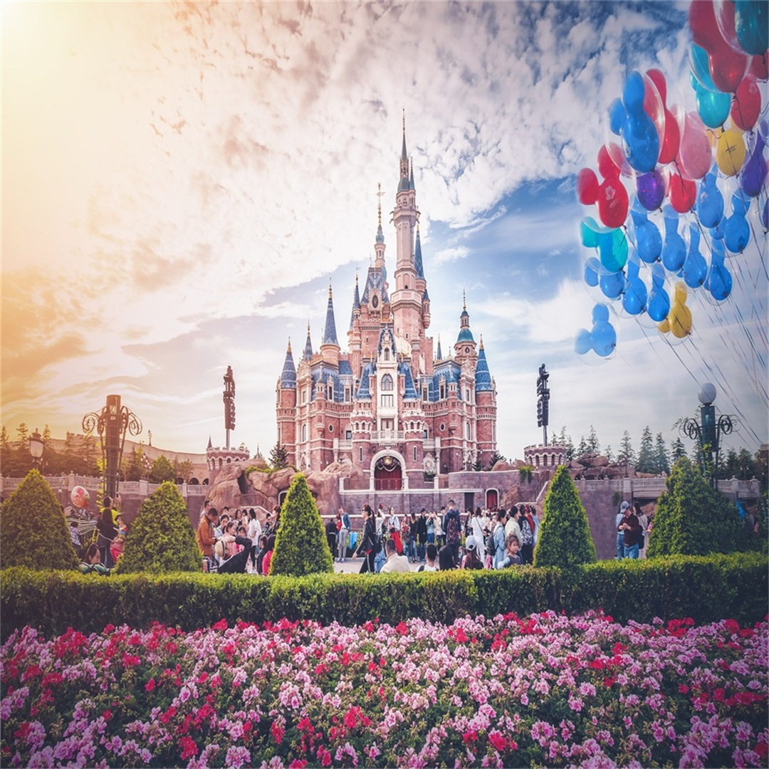 10x10ft Beautiful Castle Backdrop Romantic Flower Balloon