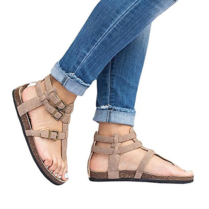b5ace824490d Womens Gladiator Sandal T Strap Toe Roman Buckles Flip Flop Flat Sandals  Shoes
