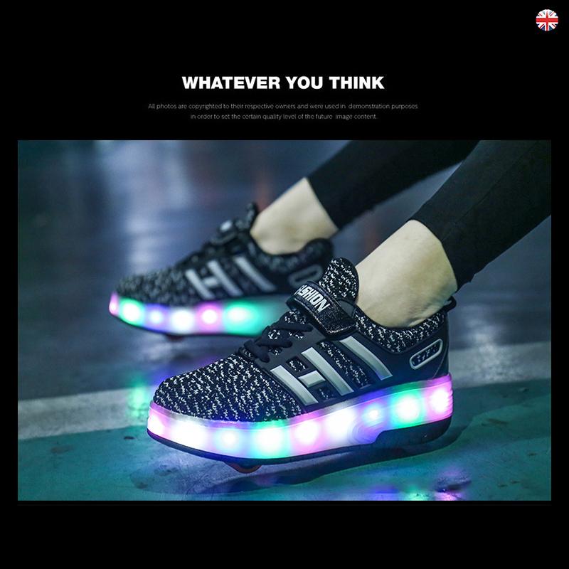 Kids Flash Jazzy Junior Girls Boys Light Roller Heelys Skate LED Shoes Size UK