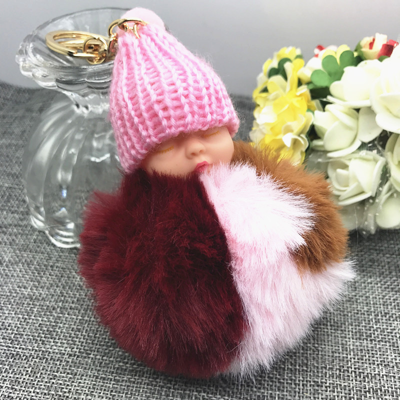 Rabbit Fur Pompom Sleeping Baby Key Chain Women Bag Handbag Doll Keychain #02