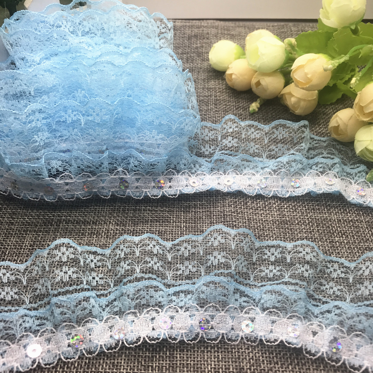 1//3//5 yards Organza Lace Gathered Pleated Sequined Trim 35mm 40mm 45mm 50mm 55mm