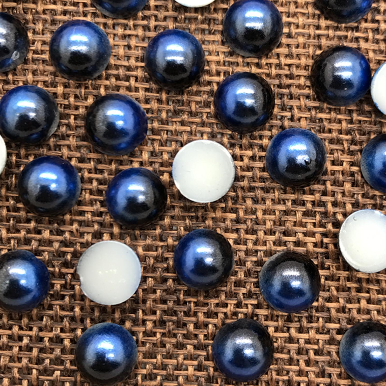 8mm 50pcs Half Round Bead Flat Back Pearl Scrapbooking Embellishment colour #09