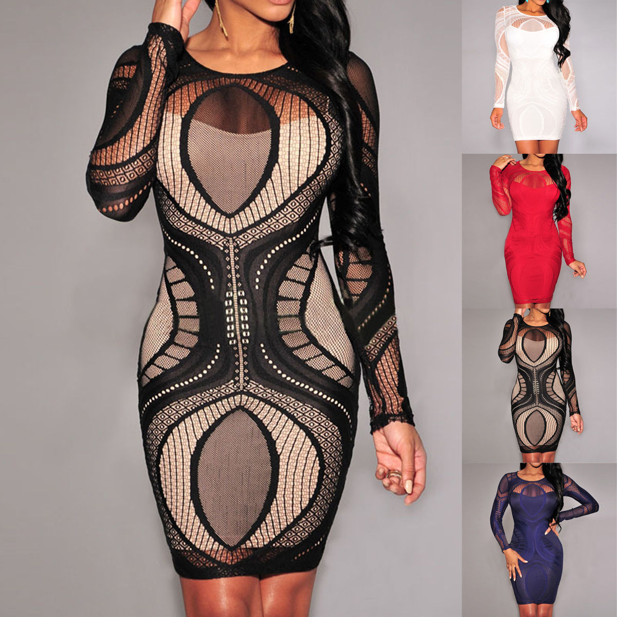 0d8a5294c97 Details about Women Sexy Bandage Bodycon Summer Evening Cocktail Party Long  Sleeve Mini Dress