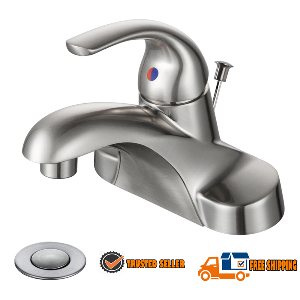 Brushed Nickel Bathroom Waterfall Basin Mixer Taps Brass Single Lever Faucet