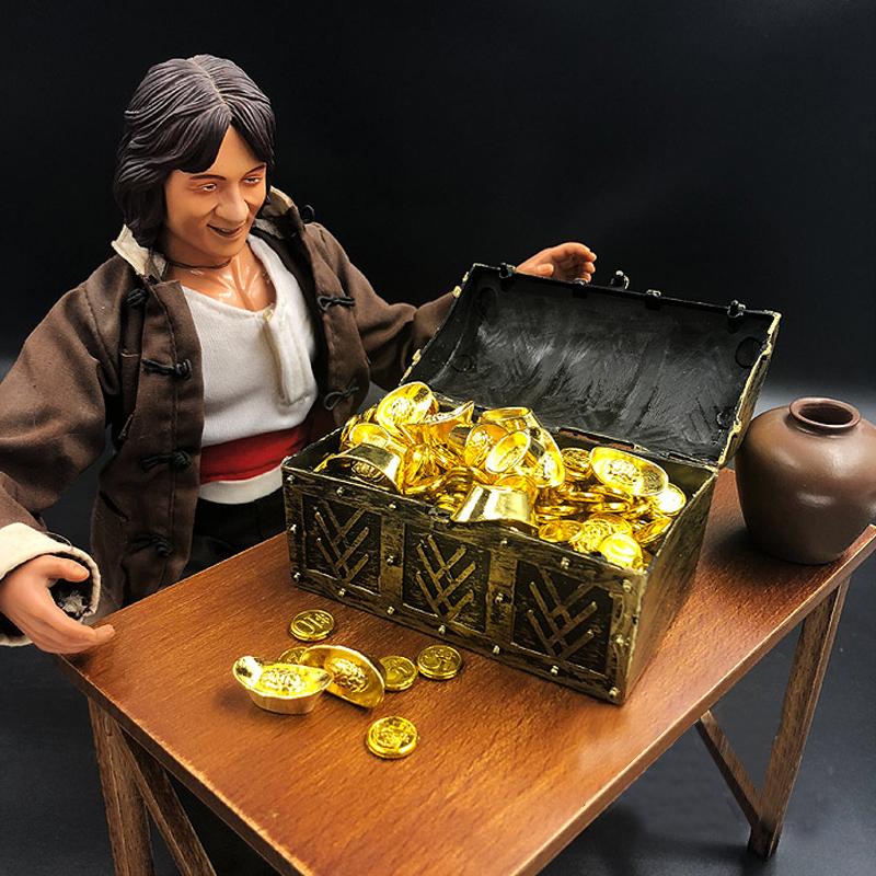 1//6 Action Figure Scene Prop Acc Gold//Silver Ingot Brick Free Treasure Box PF