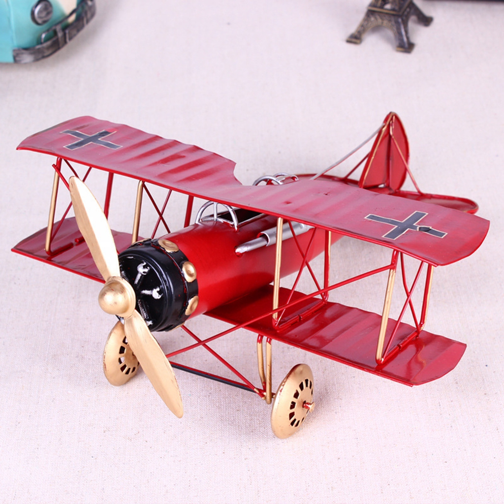 757479f6c864  PF  Metal Toy Decoration Military Aircraft Biplane Home Vintage Airplane  Model