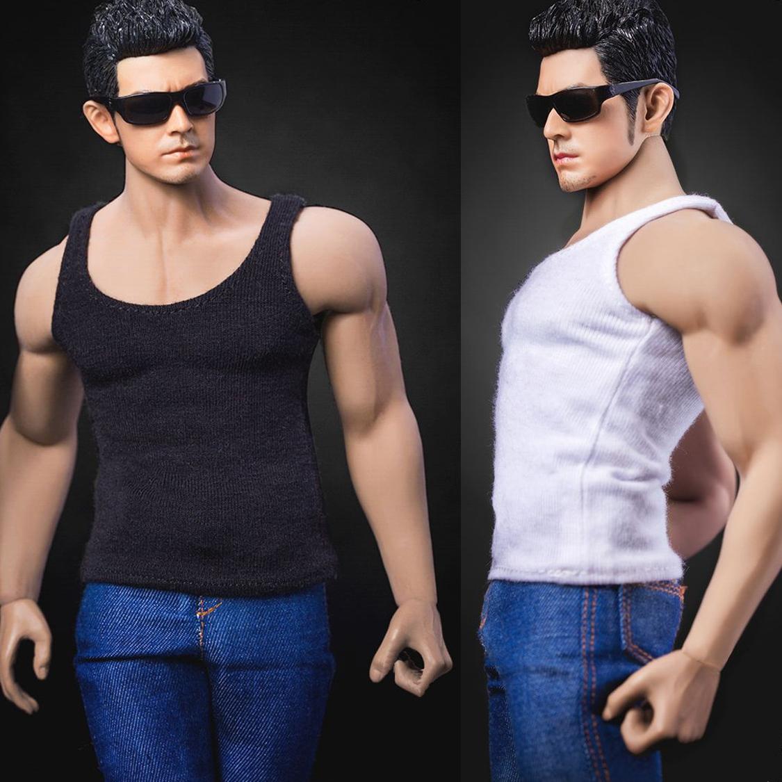 1//6 Scale white Male T-shirt Vest
