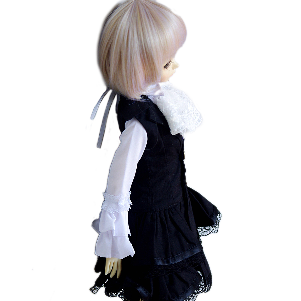 PF 243#1//4 BJD MSD Doll Black Dress White Shirt With Lace Collar