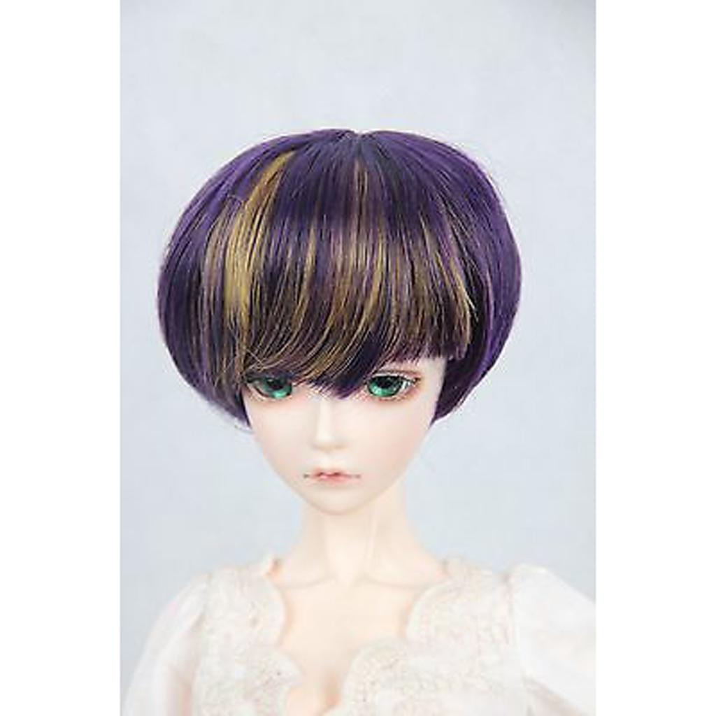 "97# Purple Mix-Color Short Straight Wig For 1//4 MSD AOD DOD DZ BJD Dollfie 7/""-8/"""