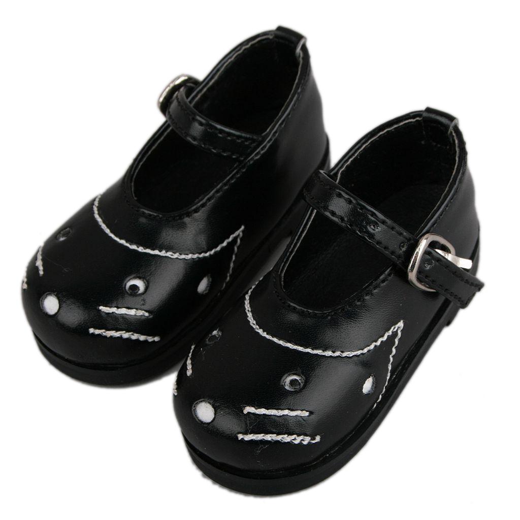 PF 1//4 Black Cat Pattern Shoes For MSD DOD AOD LUTS BJD Dollfie