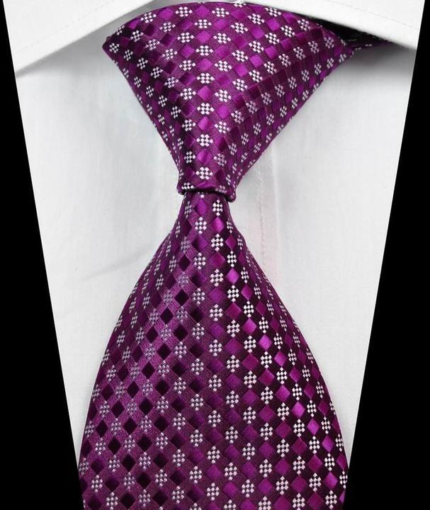 Classic Checks Purple Black JACQUARD WOVEN 100/% Silk Men/'s Tie Necktie Hot
