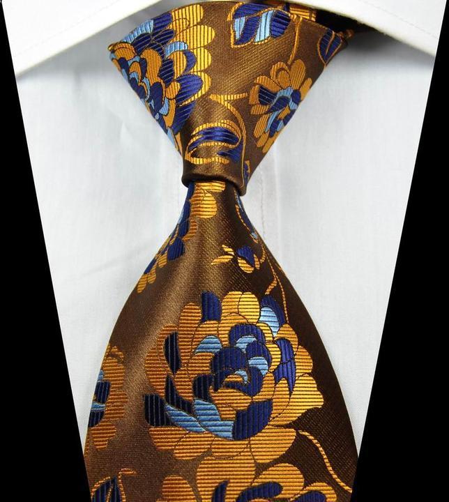 Hot Classic Pattern Floral Blue Brown JACQUARD WOVEN 100/% Silk Men/'s Tie Necktie
