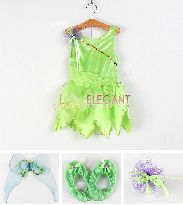 Disney Tinkerbell Fairy Halloween Costume Children Girls Gown Dress ...