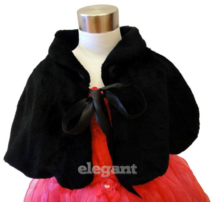 Ivory Faux Fur Children Kids Flower Girls Wedding Short Jacket Cape Coat 1-9 Yrs