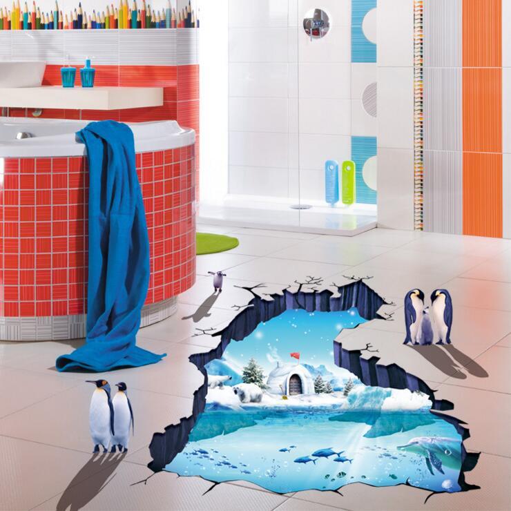 3d Polareis Gletscher Pinguin Boden Wand Aufkleber Kinder Zimmer