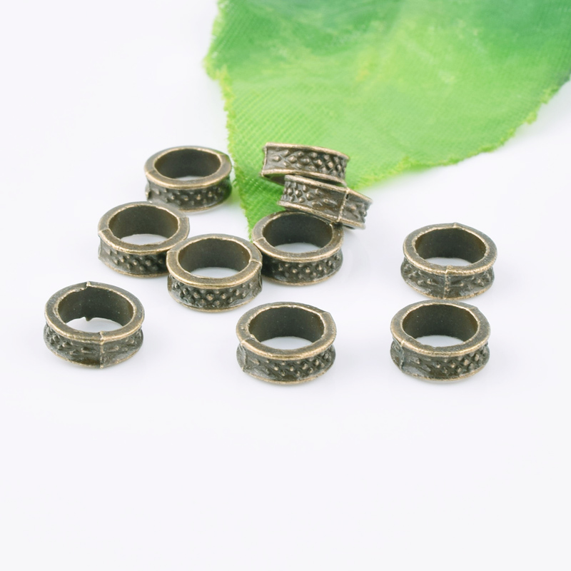 50pcs 8mm Gold//Silver Charms Carved Metal Loose Spacer Large Hole Beads Findings