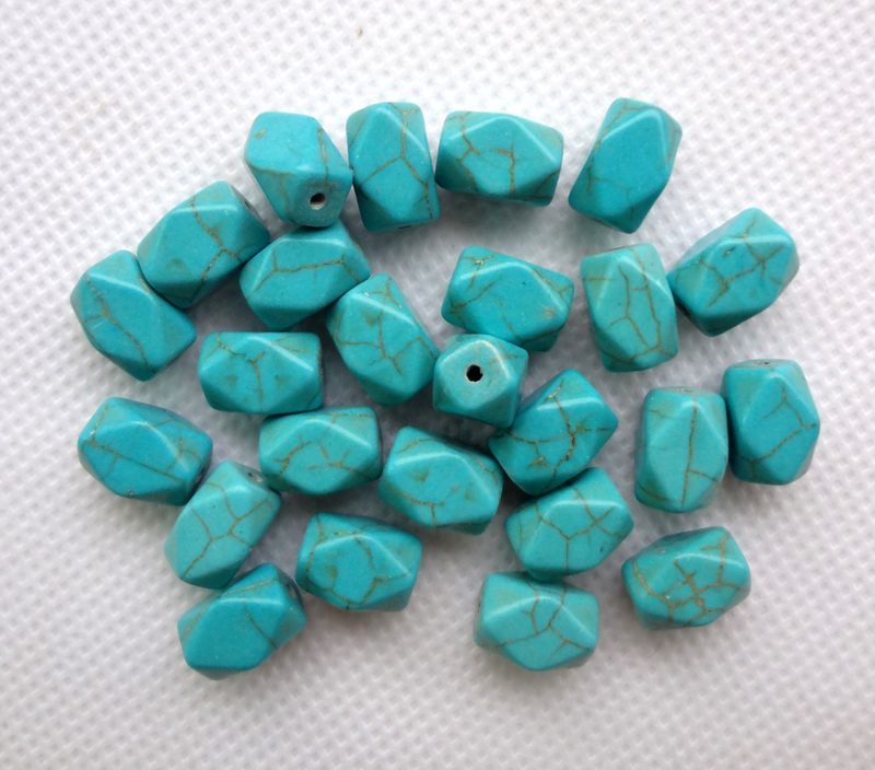Hot 40pcs Turquoise Stone Cross Loose Spacer Beads DIY Jewelry Findings 10x8mm